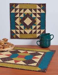 Love the colors in this mini wall hanging and matching table runner. From Twice as Nice
