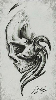 Pin uživatele jessica na nástěnce art tattoo drawings, skull Dark Art Drawings, Pencil Art Drawings, Art Drawings Sketches, Tattoo Sketches, Tattoo Drawings, Cool Drawings, Art Sketches, Skull Drawings, Skull Sketch