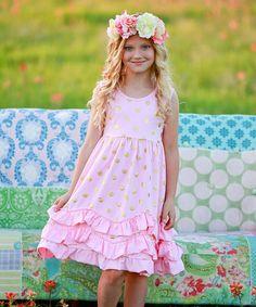 Look what I found on #zulily! Light Pink & Gold Polka Dot Ruffle Dress - Infant & Girls #zulilyfinds