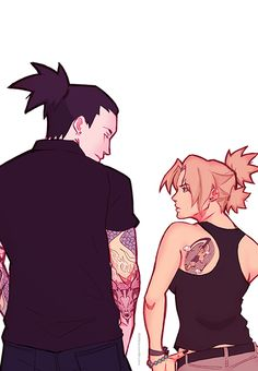 Shika/maru n Tem/ari with tats<<<some reason i imagine them two to be in… naruto art shikatema