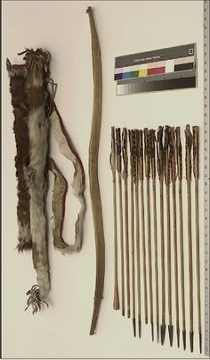 Sioux bow, arrows and quiver (cow skin), Beeches Mus  ac