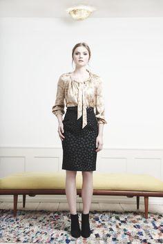 Rützou cream printed Mimosa silk blouse and black dotted pencil skirt bade23823