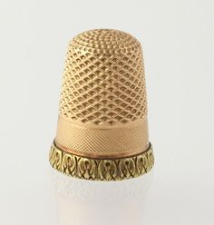 Vintage Thimble - 14k Rose & Yellow Gold Engravable Sewing Collectors Seamstress r4090