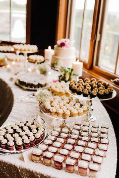 A Wedding Scrapbook — Kai Heeringa Photography Dessert Bar Wedding, Wedding Candy, Wedding Desserts, Mini Desserts, Wedding Music, Cookie Table Wedding, Wedding Foods, Buffet Dessert, Dessert Tables