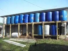 This is the last video in my rain barrel system series.  The entire system has now been constructed and consists of 12-55 gallon drums to hold 660 gallons of rain water.  Four additional containers are below the barrels which will brew compost tea - and then it is pumped back into the rain water barrels to make a 1 part compost tea - to 3 parts ...