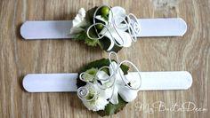 Bracelet demoiselle d'honneur,gris, blanc, fil argenté, orchidées