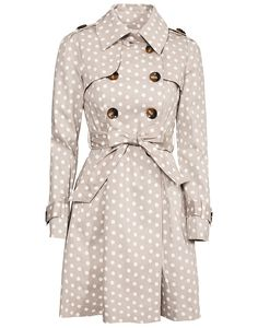Woo! Polka dots + trench coats. Add a little fun to the sophistication...