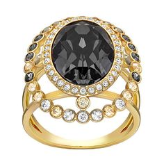Swarovski Darling Ring (€135) ❤ liked on Polyvore featuring jewelry, rings, swarovski rings, kohl jewelry, vintage jewelry, swarovski jewellery and black vintage jewelry