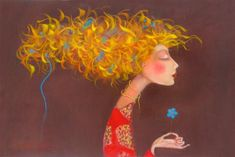 Manyung Gallery Group Kate Smith Forget - Me - Not Kate Smith, Happy Paintings, Beautiful Paintings, Cute Illustration, Character Illustration, Arte Popular, Naive Art, Fantastic Art, Whimsical Art