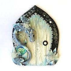 Winter Ice Dragon Fairy Door Handmade from Polymer Clay Art