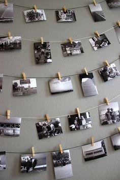 Clothespin photo wall display