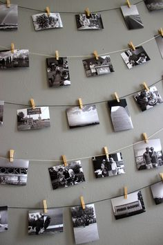 Clothespin photo wall display