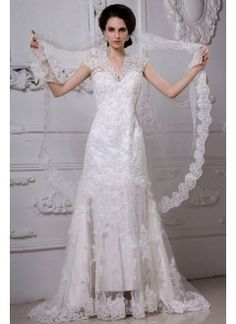 A-line Sweep Train Tulle Applique Vintage Wedding Dress with Beading