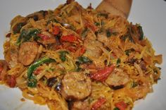 Spaghetti Squash w/ Chicken Suasage & Sundried Tomatoes