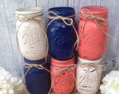 Pint Mason Jars,Navy Blue,Coral,Cream,Painted Mason Jars,Rustic Wedding Centerpieces,Baby Shower Decoration,Flower Vases,Rustic Home Decor