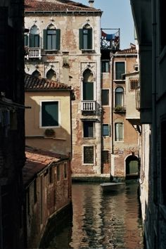 Beautiful photograph of buildings in Venice.
