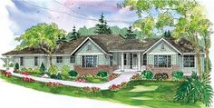 This beautiful country style home with a ranch style structure (Plan #108-1128) has over 2920 sq ft of living space. The one story floor plan includes 3 bedrooms.