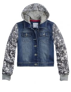 Shop Sequin Sleeve Denim Jacket and other trendy girls outerwear clothes at Justice. Find the cutest girls clothes to make a statement today.
