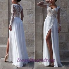 Sexy white chiffon left slit sweetheart prom dress with long sleeves from…