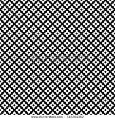 Vector monochrome seamless pattern. Abstract black & white symmetric texture, simple geometric figures, smooth lines, repeat tiles. Endless dark minimalist background, design for prints, decoration