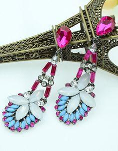 Red Blue Gemstone Fashion Earrings