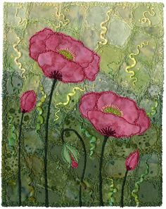 "Crazypatch background, appliqué, free-motion, couching. For a short time, many years ago, I lived by a seaside lagoon. These poppies were growing nearby and I fell in love with the glaucous leaves. I decided to make the entire background the colour of the leaves. The flowers float in an abstract sea of foliage. 5"" x 6 ½"" 12.5 x 16.5 cm 12"" x 15"" framed 30.5 x 38.5 cm framed www.chursinoff.com/kirsten/"