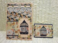 AlteredPages Artsociates: Card & ATC set  Birds and Birdcages are so sweet!
