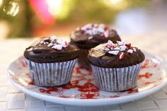 Double Fudge Candy Cane Cupcakes - Gluten-free and Dairy-Free
