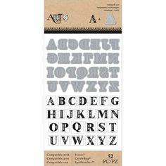 Set de sellos y troqueles alfabeto super chulo. Enlace directo: http://scrapasueños.es/Tienda/Herramientas/Set-sello-die-alphabet/?cc=6&codCat=1_615