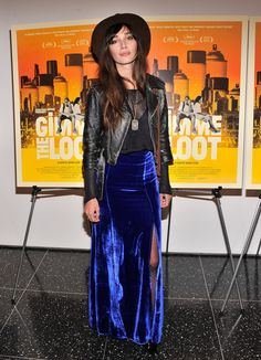"""Rebecca Dayan Photos - Actress Rebecca Dayan attends the """"Gimme The Loot"""" New York Premiere at MOMA on March 2013 in New York City. - 'Gimme the Loot' NYC Premiere Hippie Style, My Style, Glam Style, Boho Rock, Rocker Style, Velvet Skirt, Velvet Fashion, Get Dressed, Cute Outfits"""