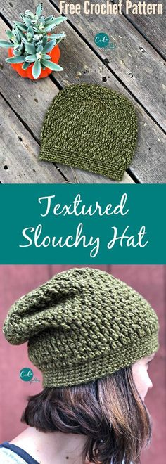 Crochet Pattern Hats Free Pattern for a textured slouchy hat. - Textured slouchy hat free crochet pattern with photos. Great beginner pattern that includes all the stitch details. Works up in less than one ball of yarn! Crochet Adult Hat, Bonnet Crochet, Crochet Slouchy Hat, Slouch Hats, Crocheted Hats, Crochet Shawl, Knit Crochet, Crochet Gratis, Free Crochet