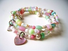 Wire wrapped bracelet with little pastel by SillyOldSuitcase, $12.50