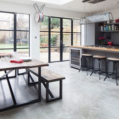Kitchen Makeover With Grey Plain English Units And Concrete Floors