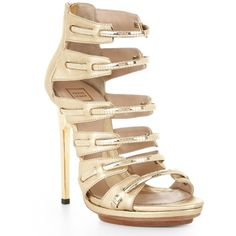 Herve Leger Eilisa Leather Sandal With Metal Chain found on Polyvore