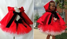 Little Red Riding Hood costume Diy Tutu, Red Colour Dress, Red Riding Hood Costume, Tutu Costumes, Creation Couture, Halloween Disfraces, Diy Disfraces, Up Halloween, Little Red
