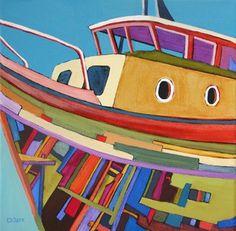 """Color on the High Seas"" - Original Fine Art for Sale - © Carolee Clark Boat Painting, Fabric Painting, Original Artwork, Original Paintings, The Artist's Way, Clark Art, Ap Studio Art, Boat Art, Daily Painters"