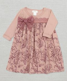 Love this Mauve Lace Bow Toile Babydoll Dress - Infant on #zulily! #zulilyfinds # trufflesruffles