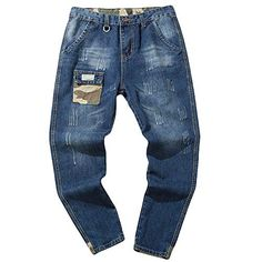 Creazrise Casual Biker Skinny Fit Ripped Distressed Destroyed Holes Jeans Autumn Hip Hop Pants BlueL >>> Check this awesome product by going to the link at the image. (This is an affiliate link) Trouser Jeans, Trousers, Tall Jeans, Denim Cotton, Big & Tall, Jeans Style, Skinny Fit, Hip Hop, Men Casual