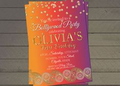 Bollywood birthday party invite confetti by LittlePinkElephant03