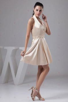A-line Halter Neck Pleated Crystal Knee-length Zipper Back Homecoming Gowns