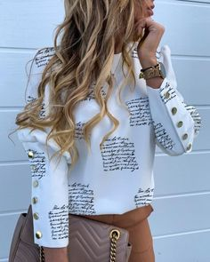 Fashion Women's Autumn Winter Long Sleeve Tops Slim Fit Crew Neck Ladies Casual Buttons Pollover Shirts Blouse, Letter Printed / S Trend Fashion, Womens Fashion, Autumn Fashion, Latest Fashion, Fashion Online, Fashion Design, Mode Kimono, Black Pink, Top Streetwear