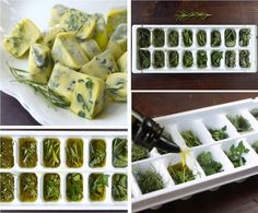 Preserving herbs in frozen olive oil. Maintains the flavor intact. Just fill each cube with fresh herbs and olive oil and freeze overnight. (Works better with thick herbs such as oregain and rosemary. thin leave herbs like basil are better used fresh). Freezing Fresh Herbs, Preserve Fresh Herbs, Freeze Herbs, Deep Freeze, Cooking Tips, Cooking Recipes, Easy Cooking, Cooking Herbs, Gastronomia