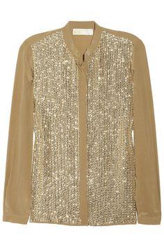 MICHAEL Michael Kors Embellished silk-crepe shirt