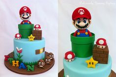 Here is a Nintendo themed cake I created for Ethan's birthday! Hope your enjoyed your surprise cake, Ethan! Bolo Do Mario, Bolo Super Mario, Super Mario Birthday, Mario Birthday Party, Super Mario Party, Nintendo Cake, Mario Bros Cake, Disney Cakes, Fondant Figures