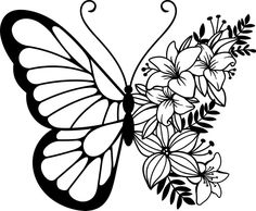 Butterfly Neck Tattoo, Unique Butterfly Tattoos, Butterfly Clip Art, Butterfly Tattoo Designs, Butterfly Design, Butterfly Stencil, Tattoo Word Fonts, Disney Silhouette Art, Insect Coloring Pages