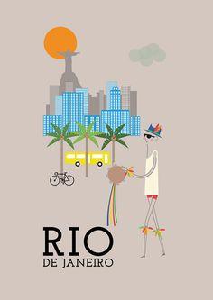 Rio De Janeiro Print - 11x16 A3 poster wall art decor fun retro design city Rio…