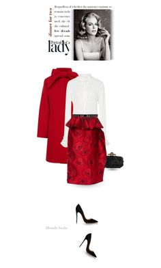 """""""Rules of a lady .. be classy, be gracious, be strong"""" by blonde-bedu ❤ liked on Polyvore featuring Oscar de la Renta, Christian Louboutin, TAXI, women's clothing, women's fashion, women, female, woman, misses and juniors"""