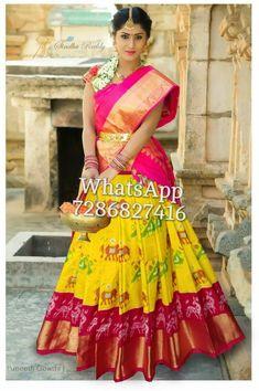 Half Saree Lehenga, Saree Look, Half Saree Designs, Blouse Designs, Half Saree Function, Ikkat Pattu Sarees, Pochampally Sarees, Kalamkari Dresses, Choli Dress