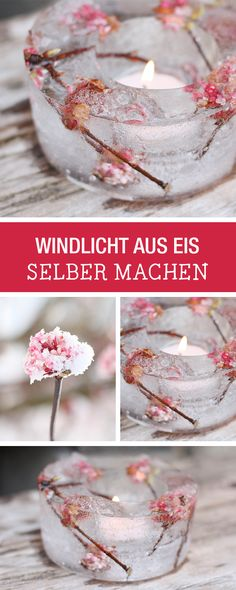 Absoluter Hingucker auf einer Party im Winter: Teelicht aus Eis mit eingeschlossenen Blüten / candle stand made of ice, winter party theme via DaWanda.com