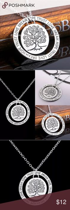 ✨NEW✨Love Dream Hope Trust Word Pendant Necklace Beautiful gift for that special friend, mom or daughter. Roughly the size of a 50 cent piece this beautiful necklace will surely be a keepsake. Material: Alloy                                                       Size: Circle Approx 3.5CM Quantity: 1PC Necklace with Pendant Jewelry Necklaces